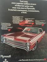 1968 Plymouth Fury red - 11x14 Vintage Advertisement Print Car Ad LG45