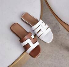 Women Genuine Leather Slippers Summer Flats Beach Shoes Flip Flops Brown Sandals