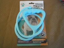 Pet Trends Silicone Dog Leash-Baby Blue-2.8' Lngth- Up to 110 Lb.Pet-NWT-L@@K