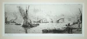 William Lionel Wyllie Pencil signed Etching & Aquatint SOUTHWARK BRIDGE LONDON