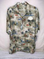 Batik Bay Hawaiian new Palm Tree Button Down Shirt Large flamingo pineapple