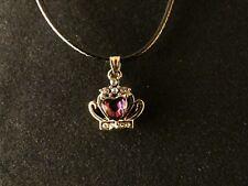 Anhänger 24 Karat Vergoldet Krone Necklace Kette Prinzessin Lila Strass