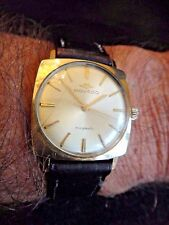 Vintage MOVADO KINGMATIC SUB SEA 14K GOLD FILL SQUARE CASE WRIST WATCH WORKS VG