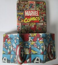 Captain America GENUINE LEATHER Tri-Fold Wallet & Collector Tin Marvel New 0076