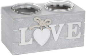 Provence Double Tealight Holders in Grey - Love