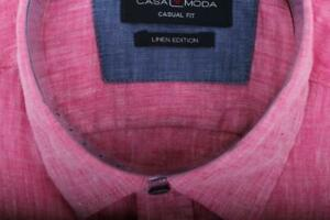 CasaModa short Sleeve Canvas Casual Shirt IN Pink
