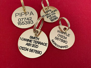 DOG IDENTITY TAGS/DISCS SOLID BRASS TOP QUALITY DEEPLY ENGRAVED