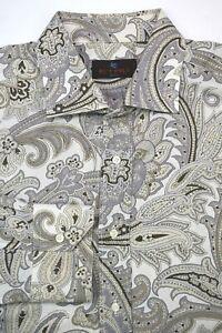 * Etro * Brown Beige White & Purple Paisley Cotton Dress Shirt 44 IT | 17.5 x 35