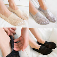 Summer Women Lace Flower Short Sock Cotton Antiskid Invisible Liner Low Cut Sock