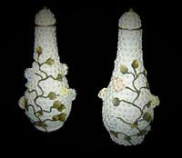 Antique Germany Rare Meissen Style Porcelain Pair of Snowball Schneeballen Vases
