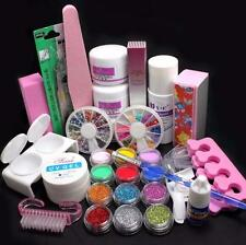 NEW 21 in 1 Pro Acrylic Glitter Color Powder French Nail Art Deco Tips Set Tool