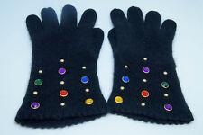 CAROLINA AMATO Vintage Ladies' Gloves Black Wool Angora Knit Rhinestone Jewels