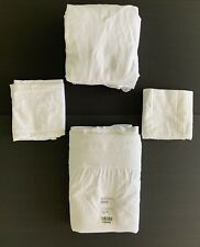 4 Piece Sheet Set Boll & Branch SOLID WHITE KING SIZE Pleated Soft 100% organic