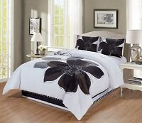 4 Pc Grey White Black Hibiscus Floral Bedding CAL KING Size Comforter Set