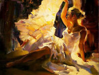 CHOP534 long dress dancing girl  hand painted oil painting on canvas wall art