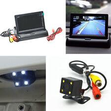 """4.3"""" Flodable LCD Screen Monitor Night Vision Car 4 LED Reverse Backup HD Camera"""