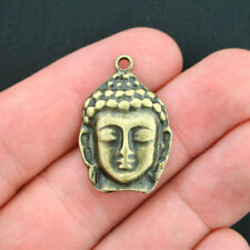5 Buddha Charms Antique Bronze Tone Beautiful Face Detailling - BC1030