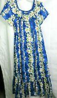 Royal Hawaiian Creations XL Maxi Muumuu Blue Dress White Hibiscus Short Sleeves