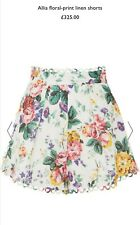 Zimmerman Allia White Floral High Waisted Linen Shorts Size UK 10