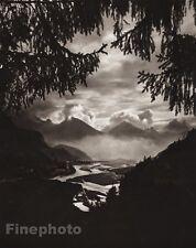1924 Vintage GERMANY Lech Valley Fussen Mountain Landscape Photo Art ~ HIELSCHER