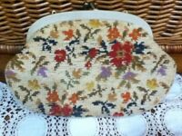 Vintage Wool Needlepoint Handbag Clutch Floral Beige Red Tapestry Purse