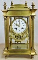 Rare Antique French 8Day Bronze 1/4 Striking 3Train Musical 4 Glass Mantle Clock