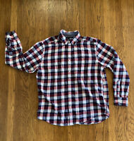 Tommy Hilfiger Mens Large Red White Blue Plaid Button Down Long Sleeve Shirt