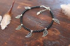 Beautiful Handmade Black Glass Bead and Silver Leaf Feather Charm Anklet