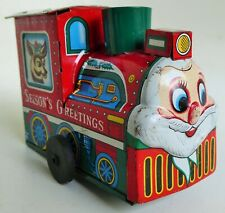 VINTAGE CHRISTMAS GREETINGS SANTA CLAUS TRAIN TIN LITHOGRAPHED WIND UP TOY