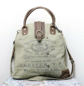 Myra Bags Vintage Gerster Upcycled Canvas Crossbody Bag for Women and Handbag