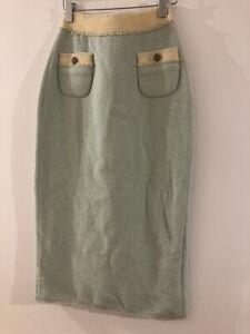 RARE Runway Meadham Kirchhoff Wool-Bouclé Skirt 'Coral' Mint And Yellow UK 8