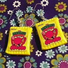 Unique MONSTER MUNCH EARRINGS handmade ROAST BEEF retro DANGLY tuck shop SNACK