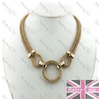 RETRO 70s CIRCLE pendant BIG GOLD FASHION thick snake chain COLLAR NECKLACE mesh