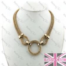 Retro Años 70 de círculo colgante Grande Oro Moda Gruesa Serpiente Cadena Collar Collar De Malla