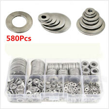 580Pcs Stainless Steel Flat Washers For M2 M2.5 M3 M4 M5 M6 M8 M10 M12 Screws
