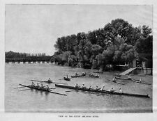 ROWING BOAT CLUB ON LITTLE ARKANSAS RIVER SINGLE PAIR FOUR EIGHT-OARED SHELLS