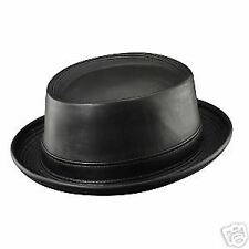 d0714de1eb8 Mens Henschel Leather Pork Pie Hat - Medium - Black - Jazz - USA Made