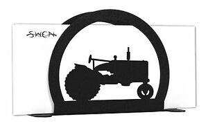 SWEN Products TRACTOR FARMALL Black Metal Letter Napkin Card Holder