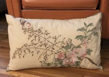 Pottery Barn New Pillow Cover Case Embroidered Flower Butterfly Pink Green Brown