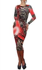 Animal Print Long Sleeve Maxi Dresses for Women