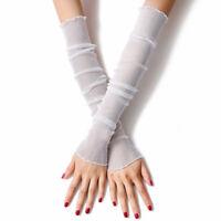 Women Lady Mesh Long Finger Protection Sun UV Driving Summer Gloves S