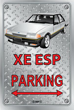 Parking Sign - Metal - Ford XE ESP SILVER WITH FR 18 SIMMONS  - Checkplate look