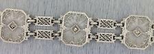 Antique Art Deco Estate 1920s Filigree 10K White Gold Diamond Statement Bracelet