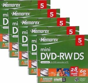 MEMOREX MINI DVD-RW DS 8cm DVD 2,8GB 60 Min. 25er Pack