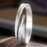 New Elegant Ladies Leaves 925 Sterling Silver Opening Bracelet Bangle For Women
