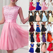 Sexy Women Lace Skater Dress Cocktail Formal Party Evening Pleated Mini Sundress
