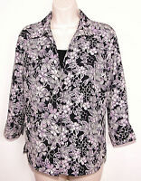 Notations Womens Floral Shirt Small S Button Front Mock Twinset Top 3/4 Sleeve