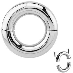 HEAVY LARGE GAUGE SMOOTH SEGMENT RINGS SCREW FIT PA PRINCE ALBERT 7MM - 15MM