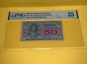 PMG Military Payment Certificate Series 521 50 Cents- Second Printing VF25