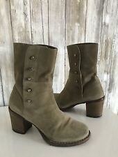 $495 FIORENTINI + BAKER Beige Suede Chunky Block Heel Ankle Boots 35.5 5.5 RARE*